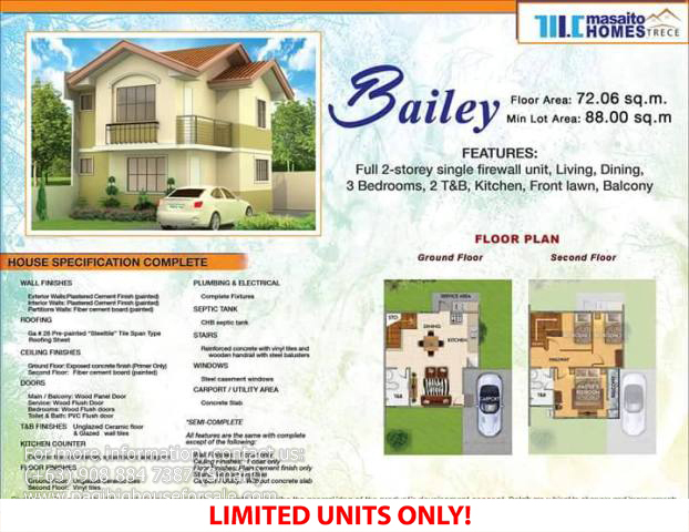 Masaito Homes Trece Bailey Model – Pagibig Houses for Sale in Trece Martires Cavite