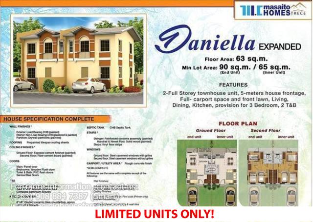 Masaito Homes Trece Daniella Model – Pagibig Houses for Sale in Trece Martires Cavite
