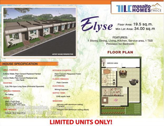Masaito Homes Trece Elyse Model  –  Pagibig Houses for Sale in Trece Martires Cavite